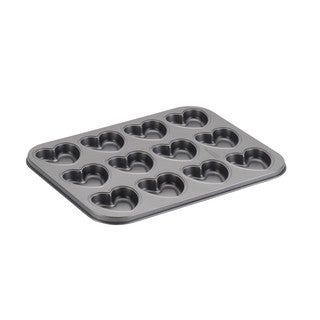 Cake Boss Novelty Nonstick Bakeware 12-Cup Heart Molded Cookie Pan, Gray