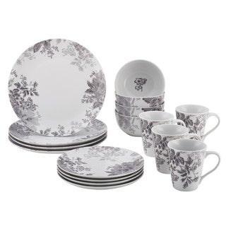 BonJour Dinnerware Shaded Garden 16-Piece Porcelain Dinnerware Set, Slate