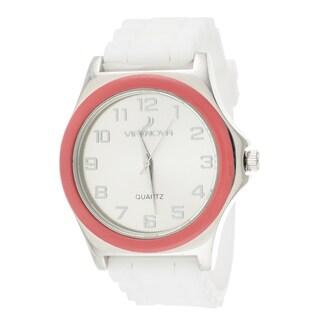 Via Nova Women's Silver Case Pink Ring White Rubber Strap Watch