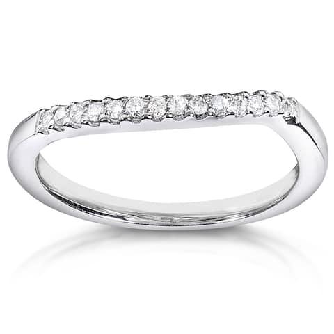 Annello by Kobelli 14k White Gold 1/10ct TDW Curved Diamond Wedding Band