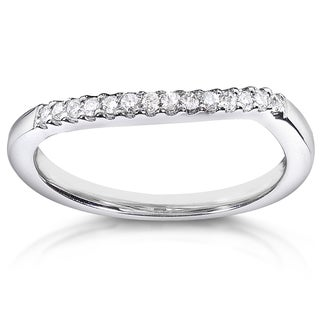 Link to Annello by Kobelli 14k White Gold 1/10ct TDW Curved Diamond Wedding Band Similar Items in Wedding Rings
