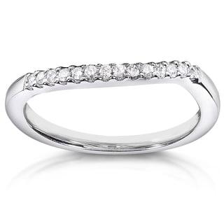 Annello by Kobelli 14k White Gold 1/10ct TDW Curved Diamond Wedding Band (H-I, I1-I2)