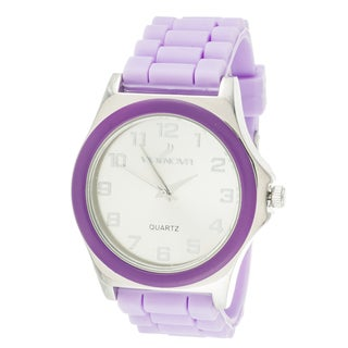 Via Nova Women's Silvertone Case Purple Ring