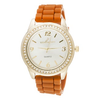 Via Nova Women's Goldtone Case Cubic Zirconia Watch