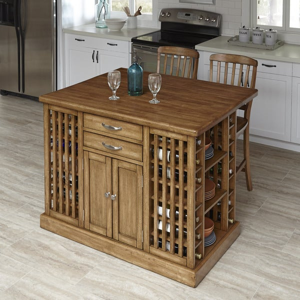 The Vintner Kitchen Island and Two Stools by Home Styles