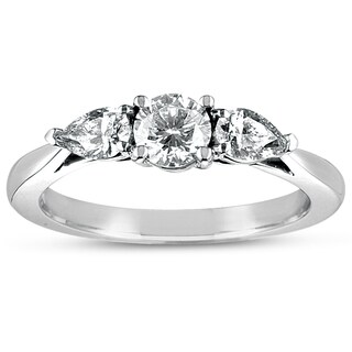 Eloquence 18k White Gold 1ct TDW 3-stone Diamond Engagement Ring