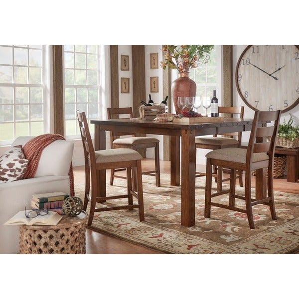 Maddox Rustic Counter Height Burnished 7 Piece Extending Dining Set By  INSPIRE Q Classic