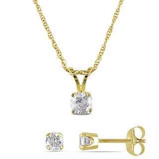 Miadora 14k Yellow Gold 5/8ct TDW Diamond Earrings and Necklace Set