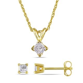 Miadora 14k Yellow Gold 1/2ct TDW Princess-cut Diamond Earrings and Necklace Set (I-J, I2-I3)