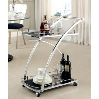 Furniture of America Erwynn Contemporary Chrome 2-Shelf Serving Cart