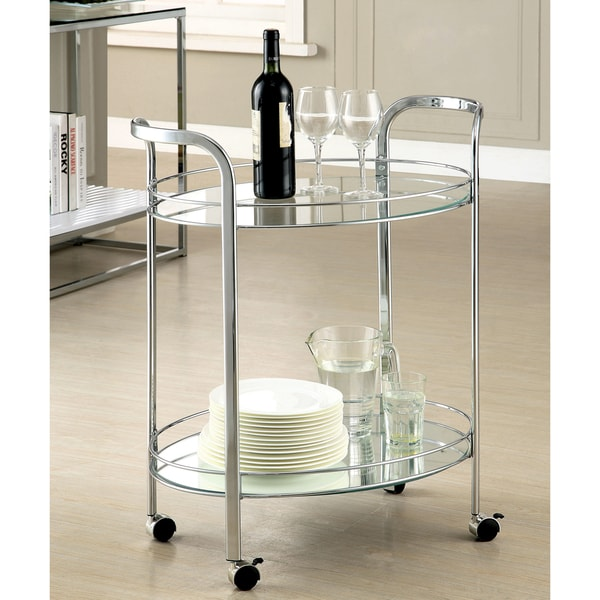 Silver Orchid O'Fredericks Contemporary 2-shelf Serving Cart. Opens flyout.
