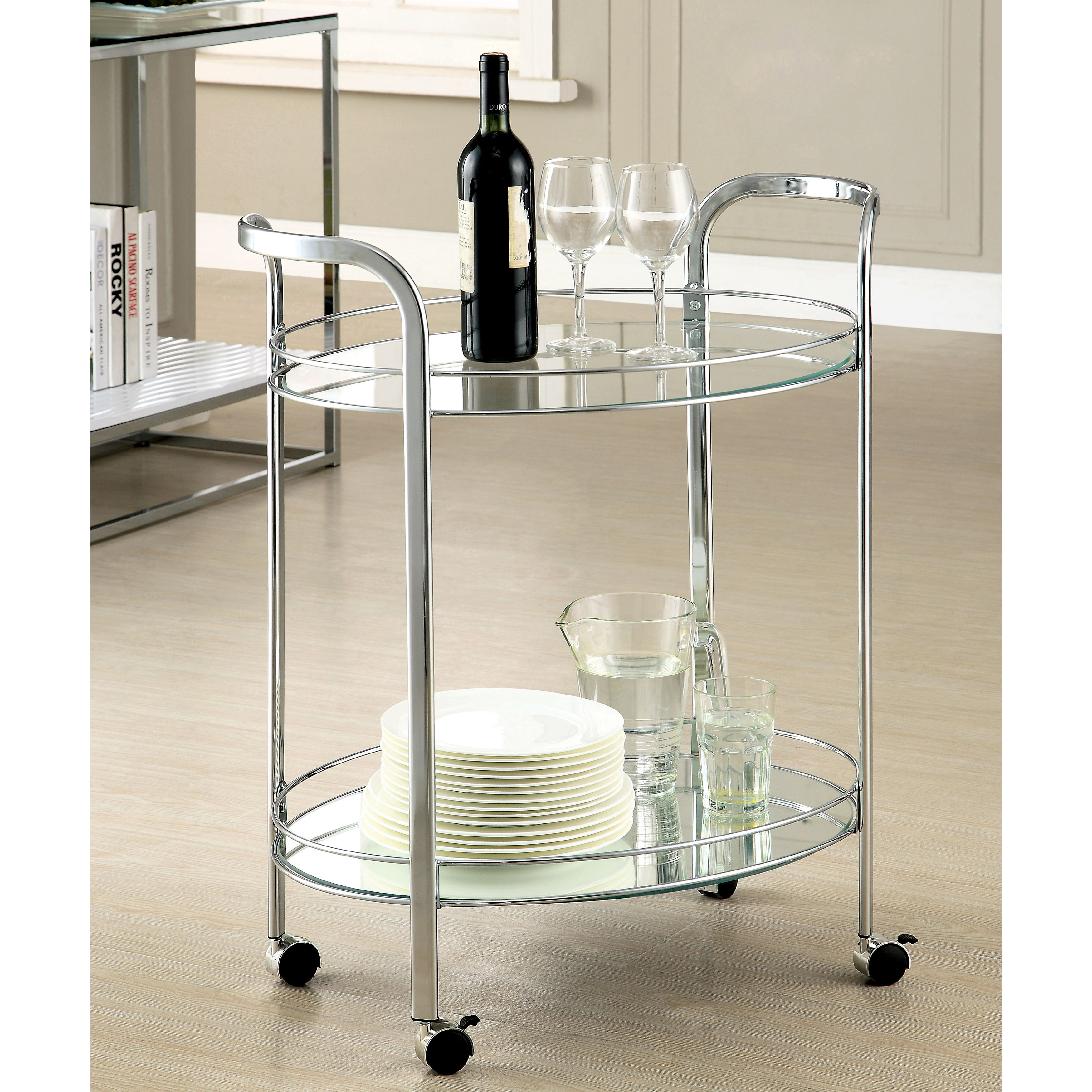 Furniture of America Teliza Contemporary Chrome 2-Shelf S...