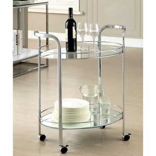 Furniture of America Teliza Contemporary Chrome 2-Shelf Serving Cart