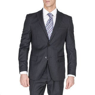 Men's Slim Fit Black Pinstriped Wool and Silk Blend Suit