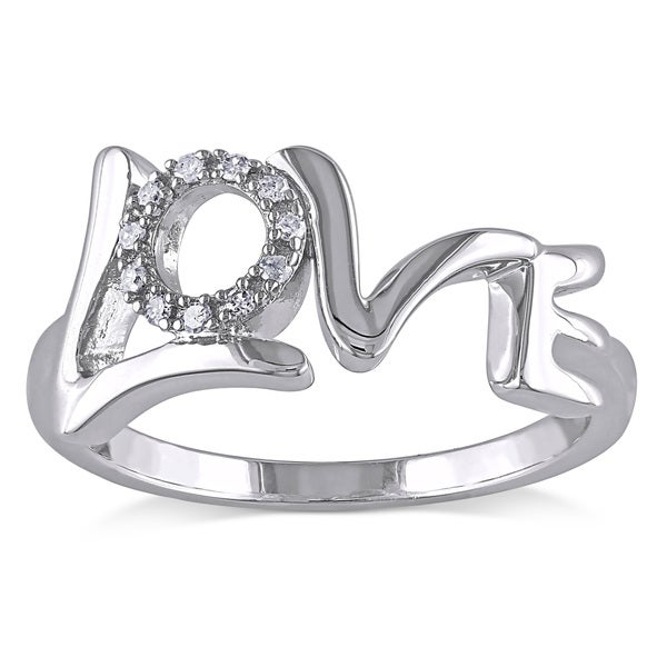 Miadora Sterling Silver Diamond Accent 'Love' Ring