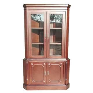 D-Art Collection Solid Mahogany Wood 2 Door Corner Cabinet