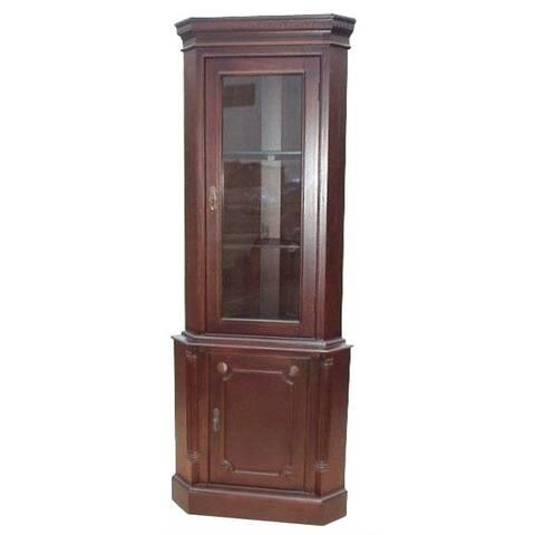D-Art Collection Solid Mahogany Wood 1 Door Corner Cabinet