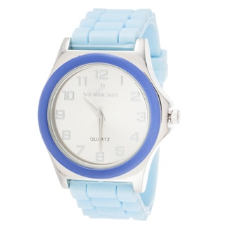 Via Nova Women's Silver Case Blue Ring Blue Rubber Strap Watch