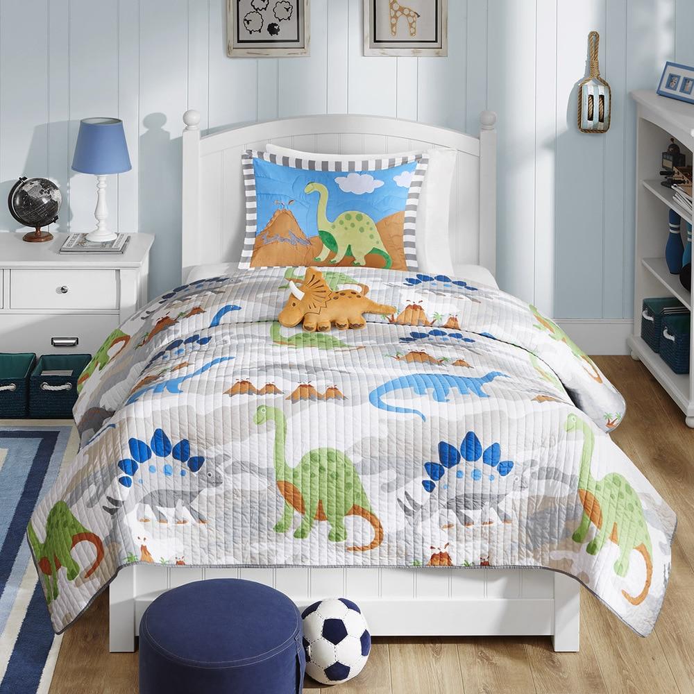 Full//Queen Coverlet Bedspread Bedding Mi Zone Kids Dylan Reversible Quilt Set-Dino Camo Print Decorative Pillow Diamond Stitching Design All Season 86x86 Lightweight Grey