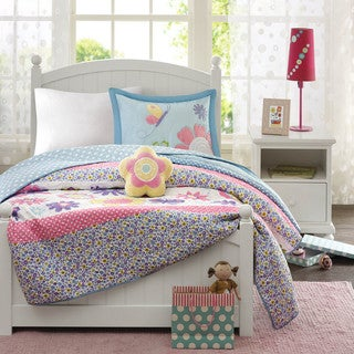 Mi Zone Kids Blooming Butterflies 4-piece Coverlet Set