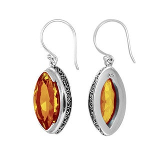 Handcrafted Sterling Silver Bali Faceted Marquise Shape Citrine Earrings (Indonesia)