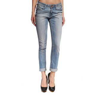Anladia Women's Light Blue Skinny-fit Rolled Capri Jeans