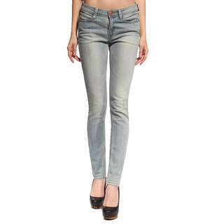 Anladia Women's Light Blue Sandwash Slim Fit Jeans
