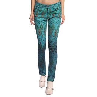 Anladia Women's Blue Peacock Pattern Skinny Jeans
