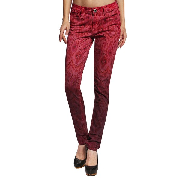 Anladia Women's Red Ikat Pattern Skinny Jeans
