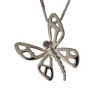 Sterling Silver Amethyst Dragonfly Design Necklace (Thailand)