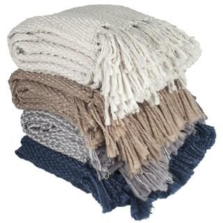 Elegant Hand Knit Style Throw Blanket with Fringe