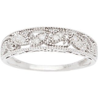 10k White Gold 1/8ct Vintage Style Diamond Band