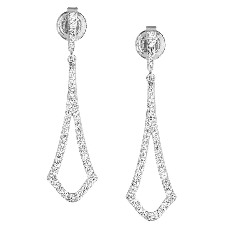 Fancy Cz Climber Earrings Silver Earrings