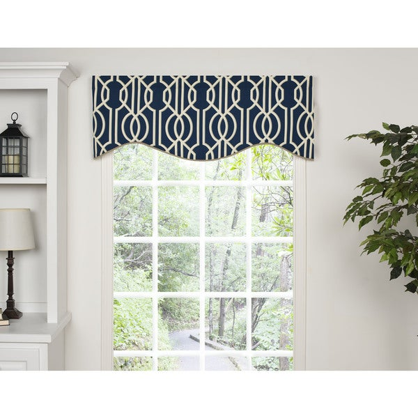Andros Blue Lattice M-shaped Window Valance