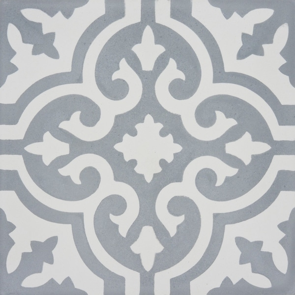 Argana in Grey and White Handmade 8x8-in Moroccan Tile (Pack 12)