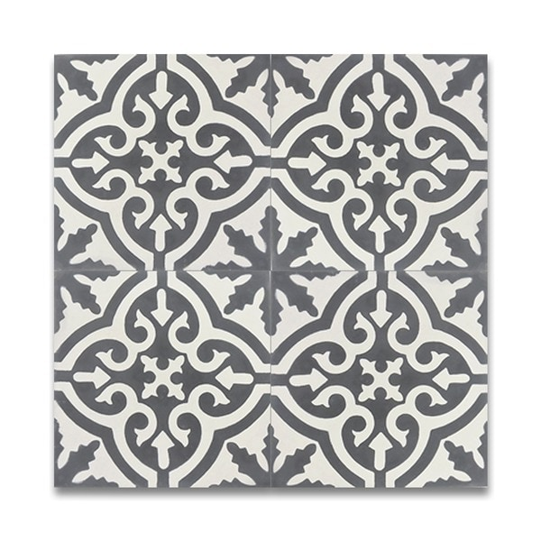 Handmade Argana Grey And White Cement And Moroccan 8 Inch