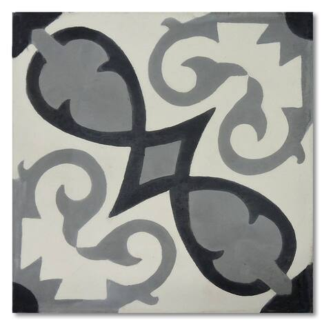 Agadir Royal Grey and Black Handmade 8x8-in Moroccan Tile (Pack 12)
