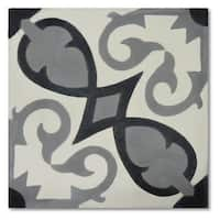 Agadir Royal Grey and Black Handmade 8x8-in Moroccan Tile (Pack 12)