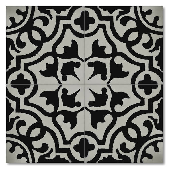Baha in White and Black Handmade 8x8-in Moroccan Tile (Pack 12)