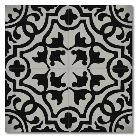 """Handmade Baha in White Tile, Pack of 12 - 8"""" x 8"""" (Morocco)"""