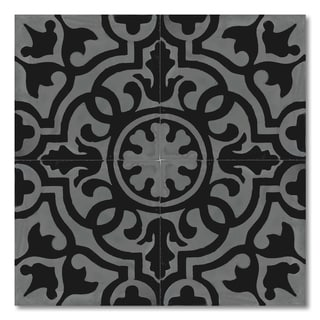 Pack of 12 Handmade Baha Black and Grey Cement and Granite 8-inch Floor or Wall Tile (Morocco)