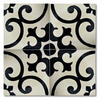 Malaga in Black and White Handmade 8x8-in Moroccan Tile (Pack 12)