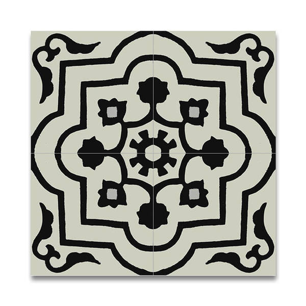 Shop Taza Black And White Handmade Moroccan 8 X 8 Inch Cement And