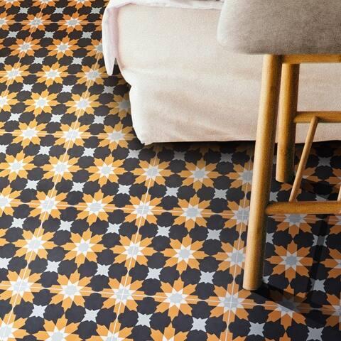 Handmade Ahfir in Black, Orange, Grey Tile, Pack of 12 (Morocco)