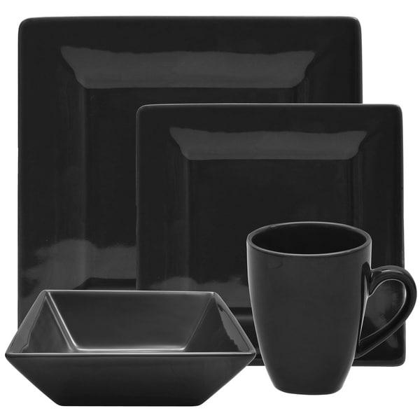 vivo 16 piece black square dinner set free shipping