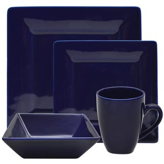 10 Strawberry Street Vivo 16-piece Cobalt Square Dinner Set