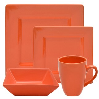 10 Strawberry Street Vivo 16-piece Orange Square Dinner Set