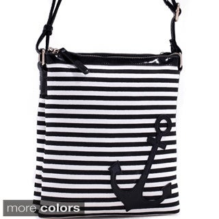 Dasein Anchor Canvas Striped Messenger Bag