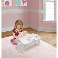 Badger Basket Doll Cradle with Bedding - White Rose