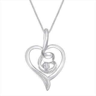 Espira 10k White Gold Diamond Swirl Heart Pendant (I-J, I2-I3)